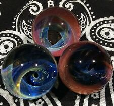 Three 24-26 MM Across Hand Made Glass Vortex Wave Art Marbles