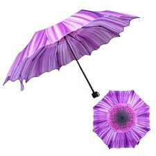 Fashion Women Portable Sunflower Folding Travel Anti UV/Rain/Sun Umbrella Purple