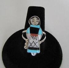 Native American Zuni Multi-Stone Maiden Inlay Ring Size 8 Signed Waseta