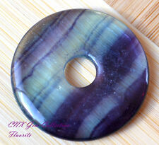 Large Natural Gemstone Crystal Purple Blue Fluorite Flat Round Donut Pendant