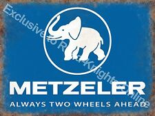 Vintage Garage Metzeler Tyres Motorcycle Motorbike Wheels, Small Metal/Tin Sign