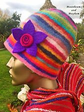 DELICIOUS NEW BOHEMIAN RAINBOW FELTED HAT HIPPIE BEANIE SCARF GLOVES GYPSY