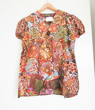 BROWN BATIK TOP PATTERN COTTON BLOUSE LADIES SMALL SIZE (8-10) ETHNIC INDONESIAN