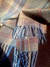 Mulberry Scarf Shawl Large Oversize Wool Country Plaid Heather Purple Grey Tweed