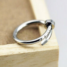 Fashion Simple Silver Alloy Nail Shape Ring Finger Rings Women Jewelry