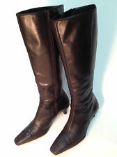 "Ann Taylor ""LOFT"" Chocolate Brown Leather Ladies Boots 2"" heel, Women's Size 6 M"