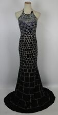 NEW $700 Jovani Beaded 27083 Halter Black Size 4 Dress Prom Formal Long Gown