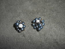 VINTAGE - BLUE / GRAY  FAUX PEARL CLUSTER CLIP ON EARRINGS -- JAPAN