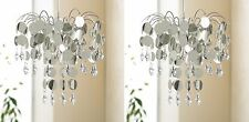 2x Chandelier Chic Faux Crystal Ceiling Pendant Light Shade Crystal Droplet 32cm