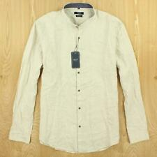 NEW with tags nwt ASCOT chang slim fit band collar linen shirt, size XL, beige