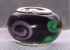 Black Pink Flowers Green Murano Glass Bead fits Silver European Charm Bracelets