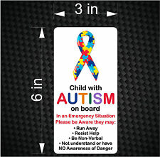 Child with AUTISM on Board - Emergency Awareness Car Vinyl Bumper Sticker Decal
