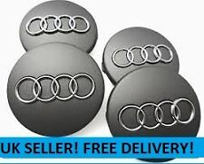 4 x Audi Centre Caps 60mm Alloy Wheel Hub Center Badges Stickers 58mm clips Grey