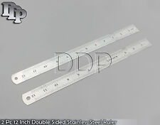 (2) New Double Sided Stainless Steel Measuring Ruler 12 Inch 30cm Metric