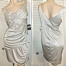 NWT TEEZE ME DRESS TAUPE Jr LARGE STRETCHY LACE & SATIN PROM HOMECOMING PARTY