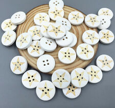 50 pcs Wooden Buttons beige Star pattern Fit sewing scrapbooking 4-Hole 18mm