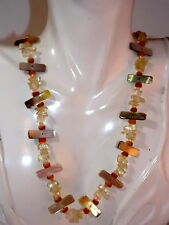 """Signed EAST Abalone MOP Clear Quartz Nugget bead 20"""" Necklace extender 7e 13"""