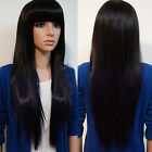 New Womens Long Brazilian Black Straight Natural Remy Wig Hair Old Full Wigs