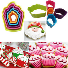 5* New Cupcake Shaped Cookie Biscuit Pastry Cutters Baking Multi Coloured X'mas