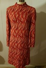Vtg 60s Kimberly Knit red FLAME dress mod volup 38 34 42