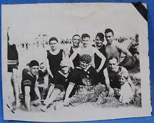 Vintage Photograph Beach Swim Party Young Men Women Swimsuit Bathing Hat 1920s