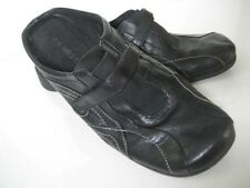 Women Sz 7. 5 M NINE WEST BLACK LEATHER MULE Wedge Slip On Clog Velcro SHOE