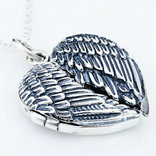 925 Sterling Silver Guardian Memorial feather Angel Wings Heart Locket Necklace