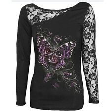 Women Blouse Skull Print Long Sleeves Lace Patchwork Sexy Cotton T-shirt M/L
