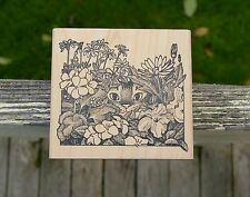 Kitty Peeking Cat Flower Bed 1993 Make An Impression Wood Mounted Rubber Stamp