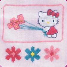 Kitty With Flowers Hello Kitty Custo Cross Stitch Kit By DMC Using Waste Canvas