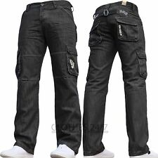 New Mens Enzo Branded Black Designer Coated Cargo Combat Jeans Waist Size 28-48