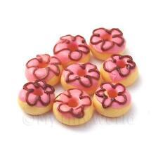 Casa de muñecas en miniatura de panadería - 8 Rosa Donuts