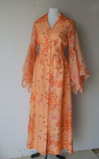 Vintage 1970s Coral Organza Chiffon Butterfly Dress Print Dress  Alfred Shaheen