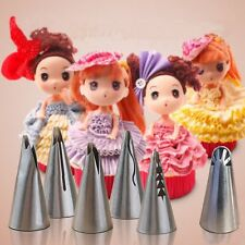 7pcs/set Flower Stainless Icing Piping Nozzles For Barbie Cake Decor + Converter