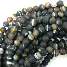 "8mm matte brown stripe agate round beads 15"" strand frosted"