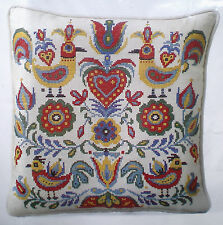 """Colorful """"Country Folk Art"""" Stamped Cross Stitch Linen Pillow Kit Flowers Birds"""
