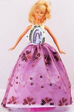 New Handmade Purple Party Dress Clothes Outfits For Barbie Doll 981