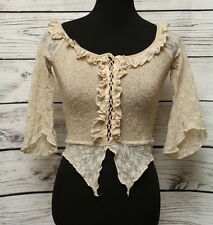 Zone-Bleue Asymetrical Hem 3/4Sleeve Beige Ruffle Knit Lace Up Top