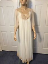 Vintage Intime Cream Long Sheer Chiffon Nylon Peignoir Set Robe Nightgown M