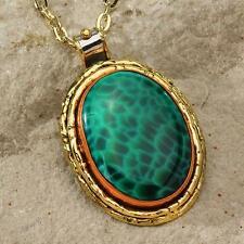 New Tara Mesa Green Scaled Agate Hammered Rim Pendant