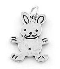 STERLING SILVER FLAT EASTER BUNNY/RABBIT CHARM/PENDANT