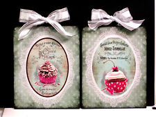 Set of 2 Decorative Paris Vintage French Label Cupcake Plaques Signs