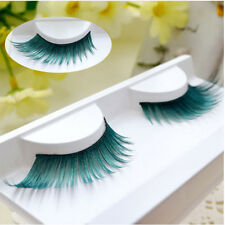 Leek Green False Eyelashes Eye end extension Makeup Cosmetics Club Party Stage