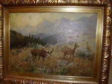Antikes Öl-Gemälde Landschaft Hirsch und Rehe