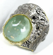 Handmade Fine Art Natural Aquamarine 925 Sterling Silver Ring Size 8.25