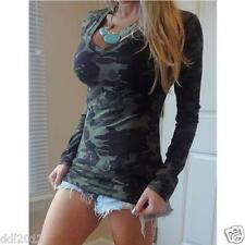 Fashion Womens V-Neck Long Sleeve Camouflage T-Shirt Bodycon Casual Blouse Tops