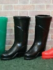 Black Wellingtons, Dolls House Miniatures, Wellies, Boots 1.12 Scale Accessory