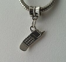 Mobile Cell Phone Silver Dangle Bead Charm fits Most European Style Bracelets