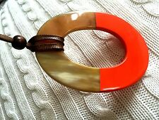 Authentic Buffalo Horn Oval Pendant Lift with Orange Lacquer