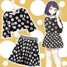Japanese Game Neko Atsume Cat Long Sleeve T-shirt Top & Skirt Set Women's Dress